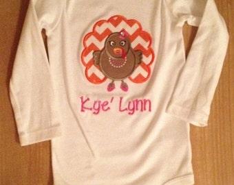 Pink and Orange Glam Turkey Shirt or Baby Bodysuit