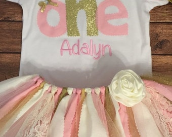 Light Pink, Ivory, and Gold Birthday Scrap Fabric Tutu Outfit With Name Embroidery
