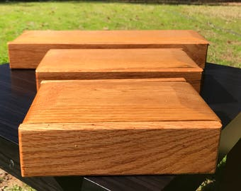Handmade wooden oak box with sliding top