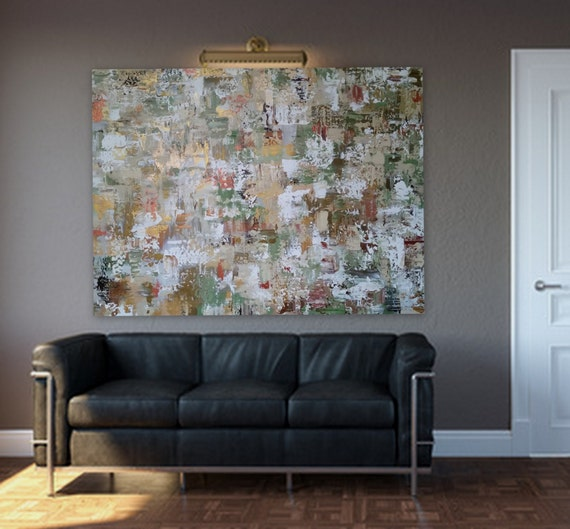 """xl Large abstract painting 48"""" x 36"""" Gold brass copper sage green cream color white ready to hang on 1.5"""" deep gallery wrapped wood frame"""