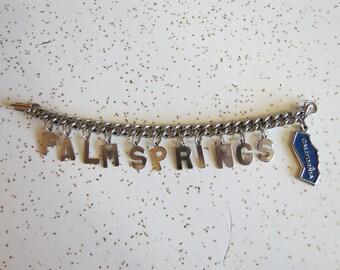 Vintage Palm Springs, California Letter Charm Bracelet