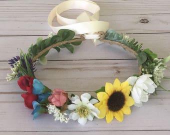 Rustic Wedding Flower Crown, Mixed Flower Crown, Barn Wedding, Boho Flower Girl, Sunflower Rose Crown, Child Bridal, Summer Photo Shoot