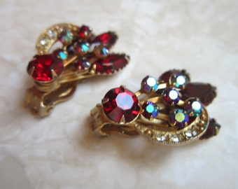 Fabulous vintage red, clear and AB rhinestones clip earrings