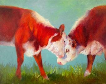 COW ART PRINT, cow art, cow decor, animal art, farm animal, colorful art, Christmas gift idea, contemporary art