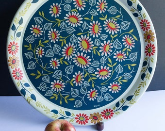 "Pop of color - Vintage Toleware 16"" Round Metal Painted Tray , Signed Maxey, Eastern European, Scandinavian, Floral Design"
