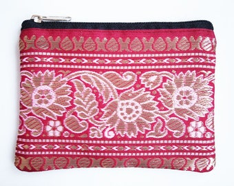 Silk Coin Purse or Small Cosmetic Bag from Repurposed from Indian Silk Sari Material