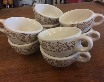 Set of 8 1940s Wallace China Brown Scroll Restaurantware Mugs