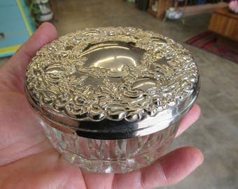 Crystal and Silver or Silver Plated Trinket Dish with Mirror