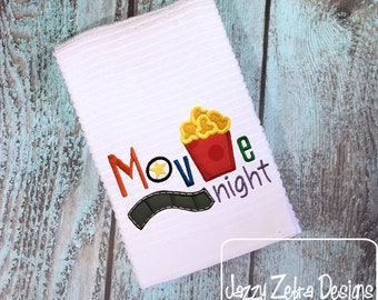 Movie night saying appliqué embroidery design - Movie appliqué design - Movie night appliqué design - popcorn appliqué design