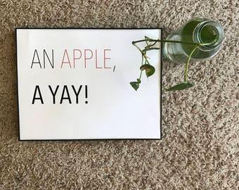 An Apple, A Yay!, Art Print, Vegan, Fruit