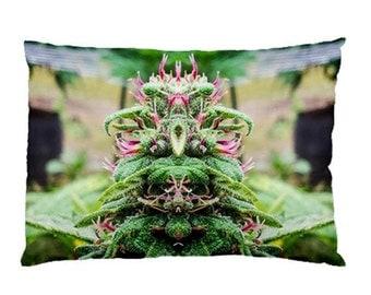 Standard Pillow Case: Ganja Pillow Case in Purple Wonder Marijuana Print, Bed Pillow Case, Cannabis Pillow Case- MADE TO ORDER