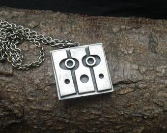 Unusual Vintage Pewter Large Necklace Pendant R Tenn Sweden,