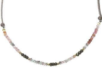 Multispinel and Pyrite faceted rondelles necklace