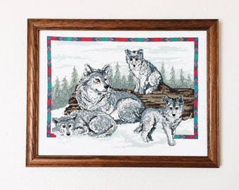 Embroidered stitched wolf art piece