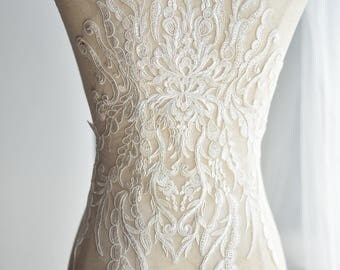 1pc Super Luxury Palace Lace Appliques Ivory Palace Exquisite Wedding Dress Grown Bridal Veil Bodice