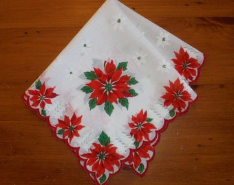 Vintage Christmas Poinsettia Hankie - Vintage Green Red Gold X-mas Poinsettias Scalloped Holiday Hankie - Vintage Christmas Holidays Linen