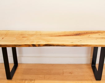 Modern Live Edge Maple Bench