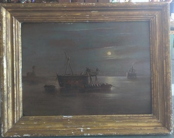 Old Antique Nautical Coastal Ship Boat Boats Ships Seascape Oil Painting