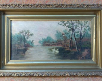 Antique Old Oil Painting on Canvas American Landscape Swans Lake Rural Framed