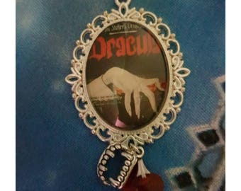 Dracula Movie Book Glass Cabochon Silver Necklace Fangs Bram Stoker Handmade