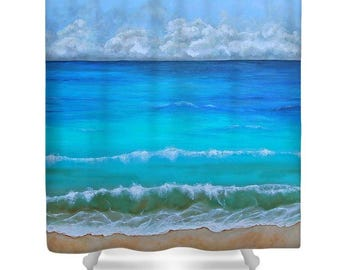 ocean shower curtain bathroom beach curtain seascape bathroom accessories original art by nancy