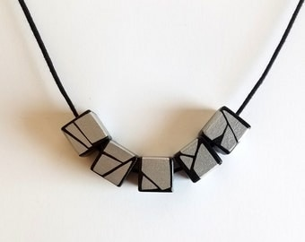 Painted Geometric Wood Necklace In Silver