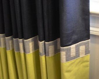 Custom Color Block Banded Drapery Panels