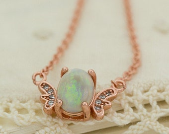 Mexican Opal Rose Gold Plated Necklace 1.1ct (MO445P)