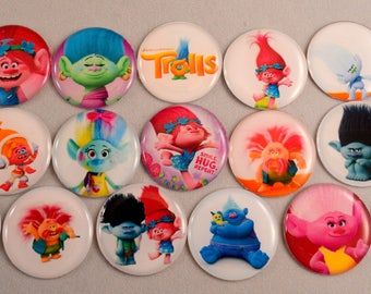 16 pcs. TROLLS flatback cabochons one inch MADE in the USA Hair bow centers