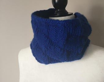 Royal Blue Polka Dot Cowl