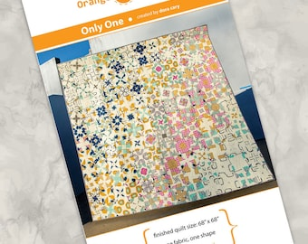 Printed quilt pattern - Only One - only one fabric, only one block, full color instructions, modern and artful