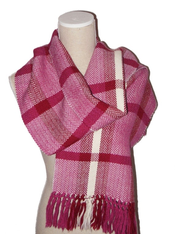 Scarf, 100% Alpaca Wool, Handwoven, colours off white, dark pink & dark tomato