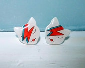David Bowie Ziggy Stardust cute cat/ kitten stud/ post earrings. Shrink plastic. Can be customized.