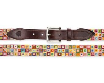 Multi-Colored Squares Needlepoint Belt
