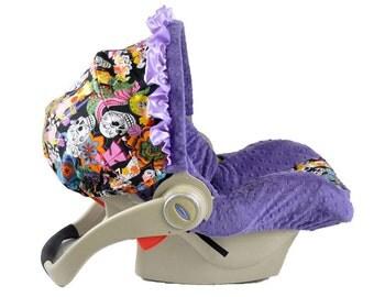 Infant Car Seat Cover- Los Novios/ Purple