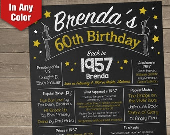60th Birthday Chalkboard, Adult Birthday Chalkboard, 60th Birthday Poster, 60th Birthday Centerpiece, 60th Birthday Gift
