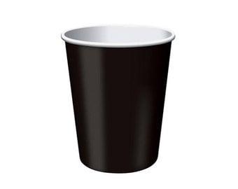 BLACK PAPER CUPS (Set of 8) - Black Paper Cups (266ml / 9oz)