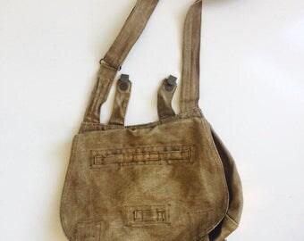 Vintage Czech Military Bag, Messenger Bag Linen Fifties
