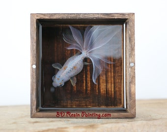 Pure white Koi fish resin painting in the rough wooden box【NEW!】, handmade creative home furnishing ,Creative Gifts, Art Decoration