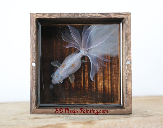Pure white koi fish resin painting in the rough wooden for Resin koi fish