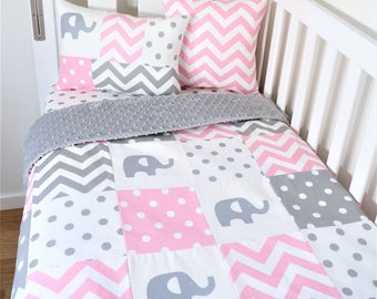 Pink and grey elephants patchwork, spots and chevron nursery items (Grey minky quilt backing)
