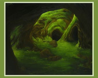 "Original 20x24"" Oil Painting - Dark Forest Mossy Cave Wall Art"