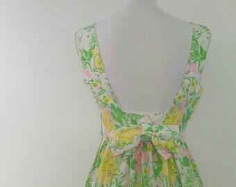 Vintage Bohemian Maxi Dress Narcissus Floral long dress 60s 70s low back bow