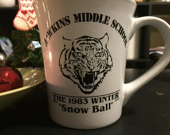 Stranger things, Hawkins Middle School snowball 1983 commemorative mug, dance, eleven, upsidedown you turn me