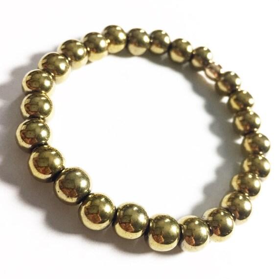 Gold Hematite beaded Bracelet, unisex, gemstone, Meditation, Yoga, Mala, Gold Plated