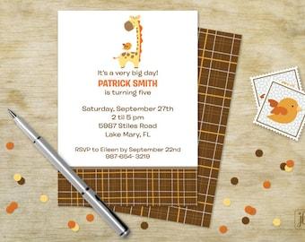 Giraffe & Birdy Birthday Invitation | Giraffe and Birdy Printable Invitation | Digital Invitation | Printable .PDF