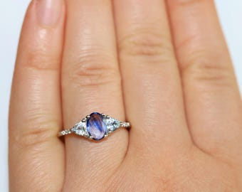 Bi-color Sapphire Engagement ring, 3 stone cluster ring