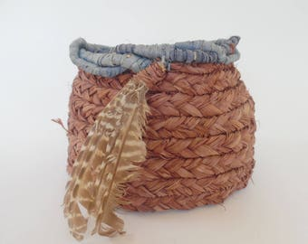 VINTAGE SWEETGRASS BASKET Dyed Twisted Coiled Blue Braided Bird Owl Feathers Native Soft Weave Basketry Woven