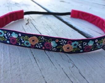 "Navy flower Bouquet Non Slip Headband 5/8"""
