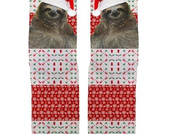 Christmas Sloth socks, Stocking Stuffer, Christmas Socks, Funny Socks, Christmas Gifts
